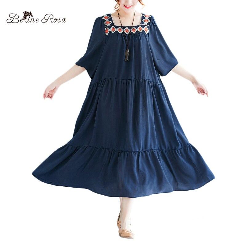 BelineRosa 2018 Womens Summer Dresses England Style Royal Blue Ruffled Hem Short Sleeve XL 2XL 3XL Plus Size Dresses XMR00063