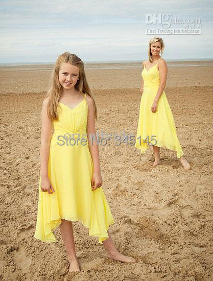 Lovely Yellow Junior   Bridesmaid     Dresses   Chiffon Spagetti Straps Party Gowns