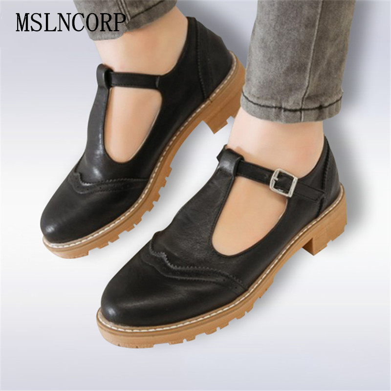 Size 34-43 Women Flat Shoes Causal Loafers Student Round Toe Oxford Shoes Woman Brogue Sweet Mary Janes Handmade Leather Shoes