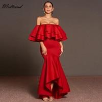 Wedtrend Slash Boyun Kapalı Omuz Kırmızı Mermaid Asimetrik Kadın Elbise İnce Kılıf Cheaps Uzun Lady Elbise Maxi Kadın Elbise