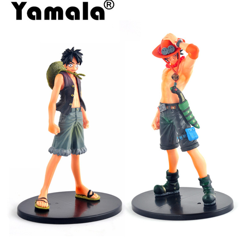 [Yamala] 2pcs/set 18cm Anime One Piece Luffy + Ace PVC Action Figure Model Toys Christmas toy model gifts for children [yamala] 2pcs set 18cm anime one piece luffy ace pvc action figure model toys christmas toy model gifts for children