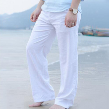 New High quality Mens Summer Casual Pants Natural Cotton Linen Trousers White Elastic Waist Straight Mans 2019