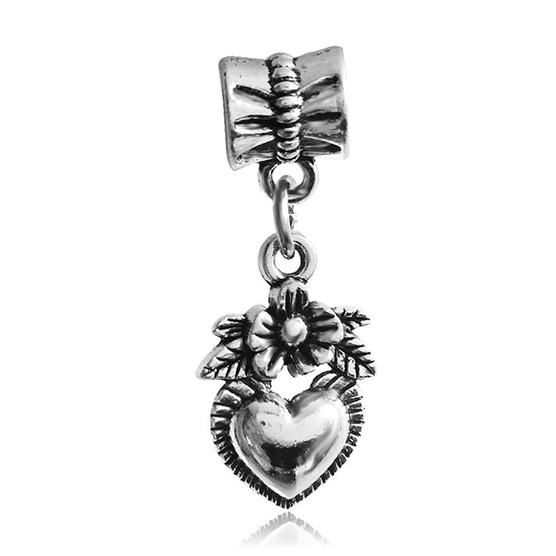 Free Shipping 1PC Silver Plated heart with flower Beads Pendants Charms Fit European Pandora Charm Bracelet & Necklace
