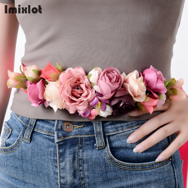 New Fashion Women Girls Waist   Belts   Long Ribbon Chain Flower   Belt   Girls Wedding Bridal Waistband For Party Dress Accessories