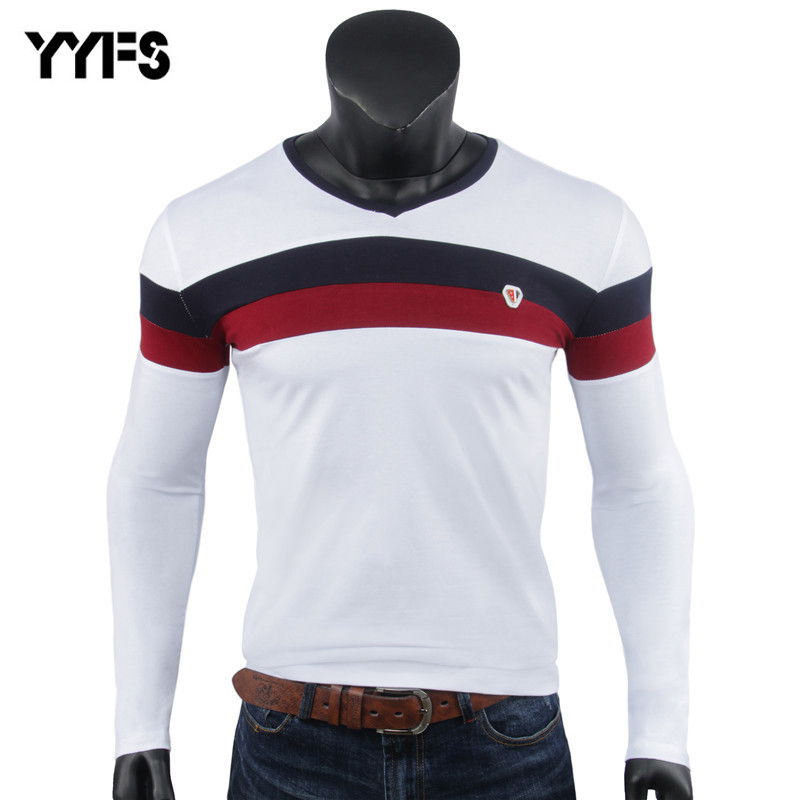 New Spring   T  -  shirts   Men's Cotton Long Sleeves V-neck Tight Men   T     shirt   Top Anime Crossfit Fashion Casual Tees   Shirts   Plus Size