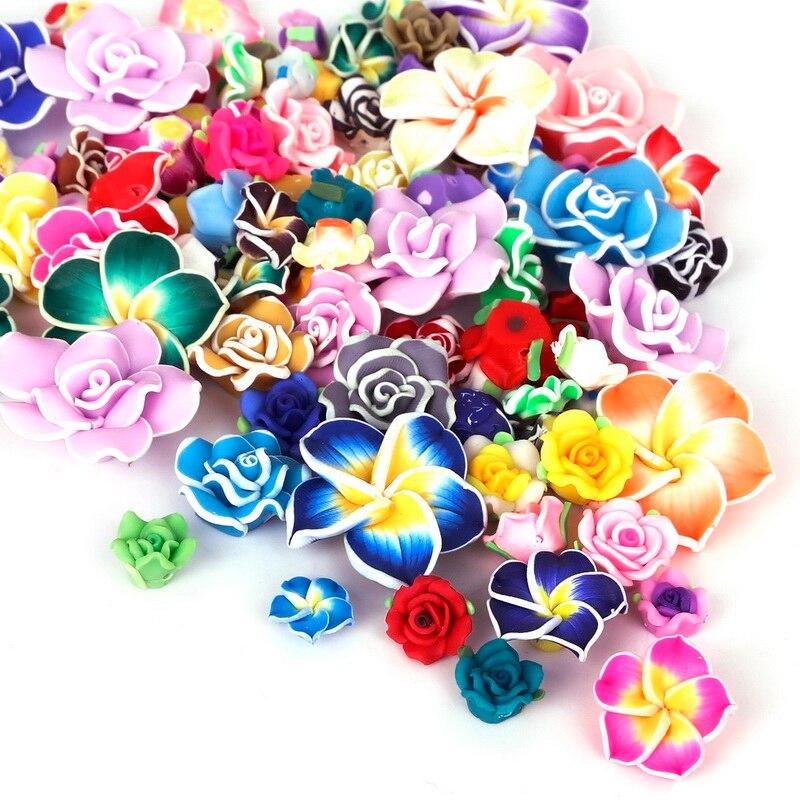 5-10pcs חדש אופנה יפה מקסים מעורב-צבע פולימר חימר פרח Loose Spacer חרוזים 10-30mm