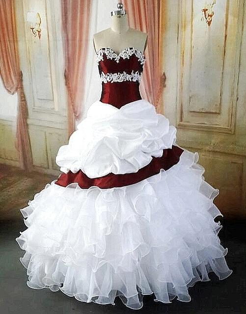 Balón vestido de Blanco Vestidos de Novia de Colores Con Color Rojo ...
