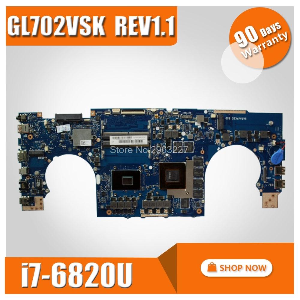 GL702VSK for ASUS Laptop motherboard GL702VSK GL702 GL702V i7 GTX1070 N17E-G2-A1 graphics card motherboard 100% test free ship free shipping n17e g2 a1 nvidia gtx 1070 8g mxm sli n17e g2 a1 video card for dell alienware msi clevo notebook laptop
