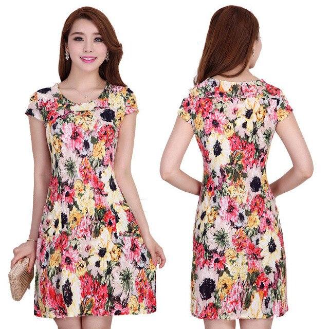 fb2b22347 Plus Size L-4XL Women Summer Casual 15 Colors Print Floral Dress Short  Bodycon Dress Pocket Vestido De Festa D203
