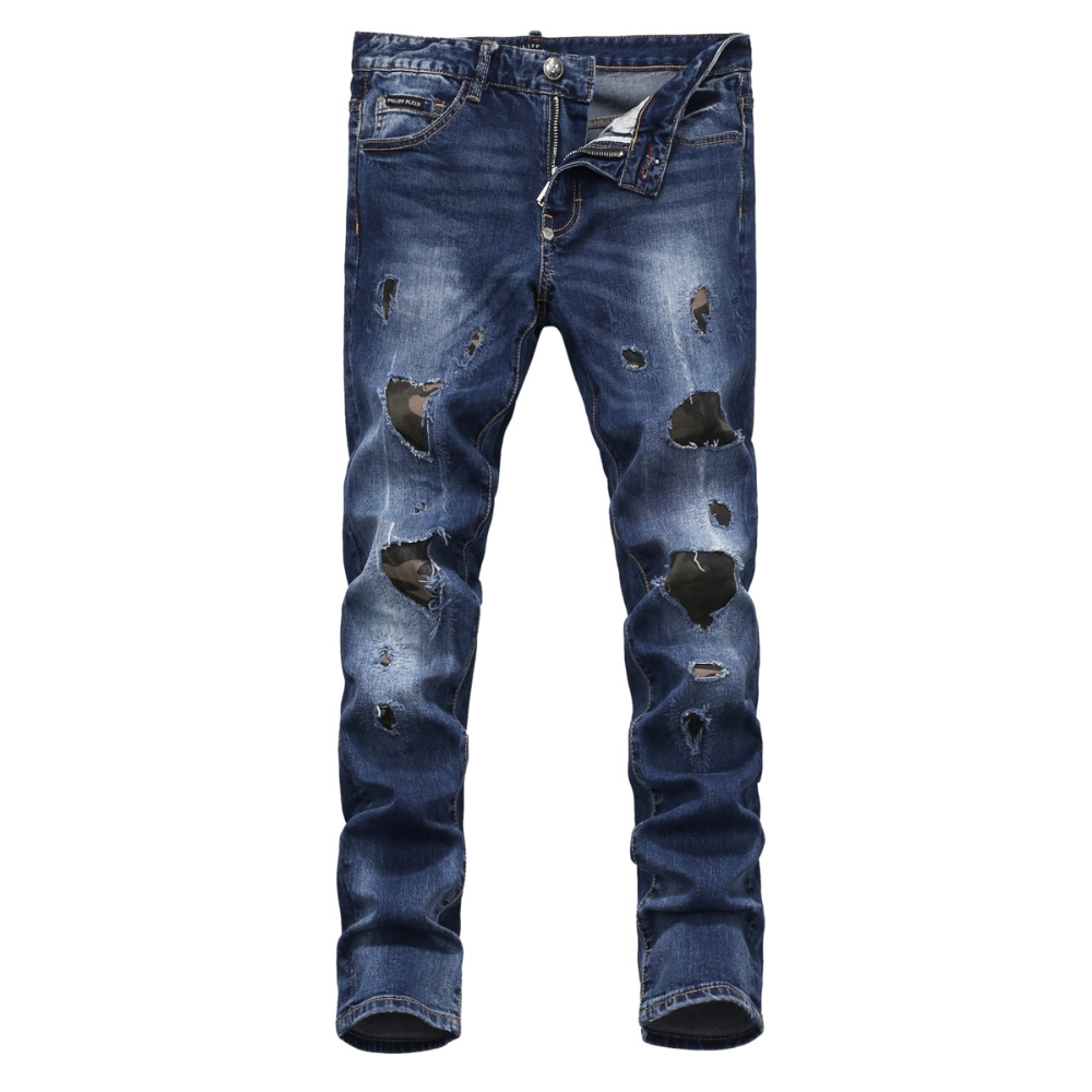 New Arrival Top quality Fashion Casual Men beggar Patch holes Embroidery Skull Jeans Man Skinny Slim Denim Trousers jeans P830