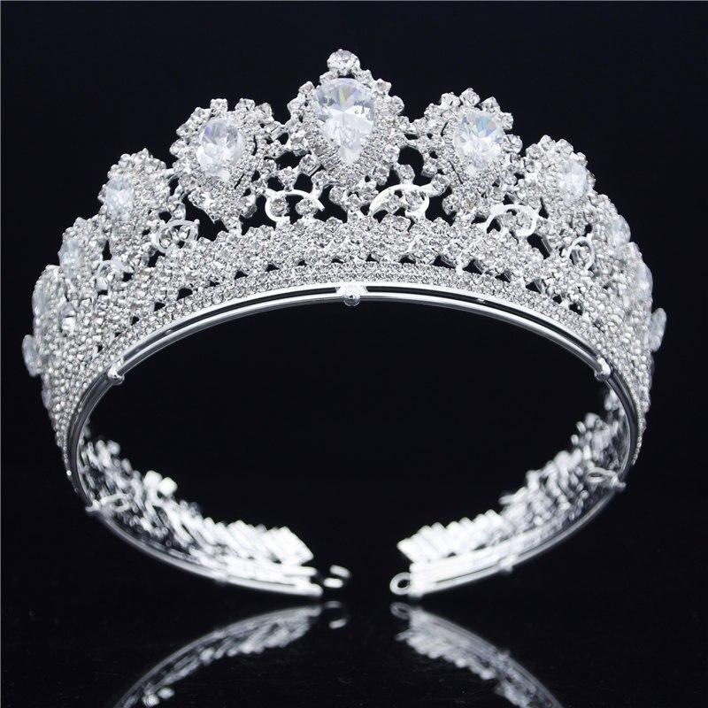 Mariée diadèmes et couronnes De Mariage cheveux bijoux Baroque Reine Roi Diadème De Bal Argent Zircon Couronne De Luxe Cheveux De Reconstitution Historique ornements