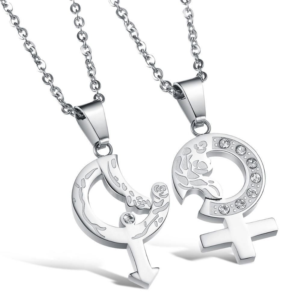never darken cute couple necklace set his and her