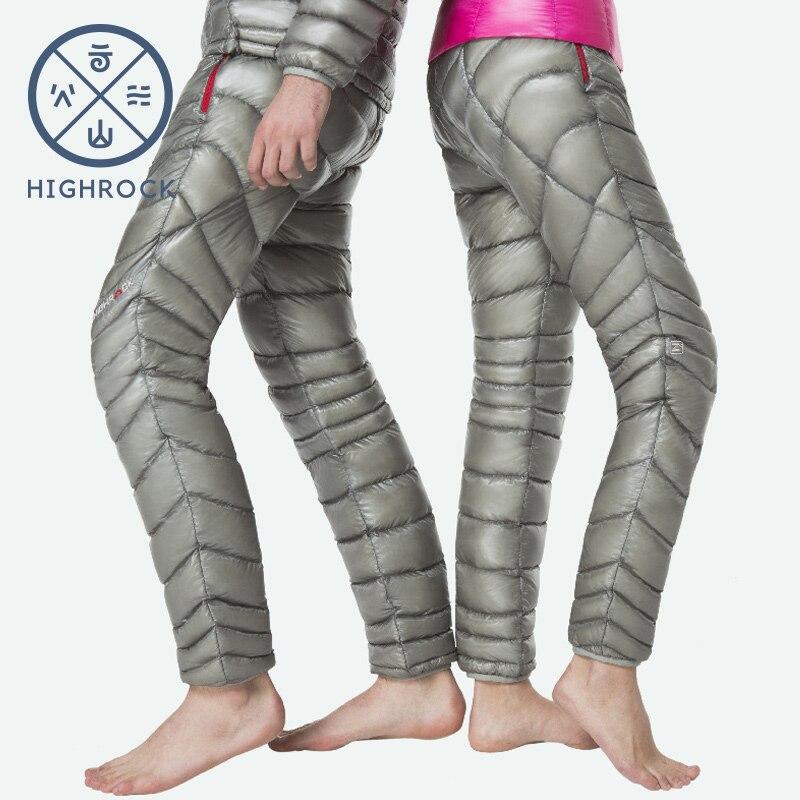 HIGHROCK 2018 зима 800FP 90% гусиный пух брюки женские мужские походные лыжные Толстые Пуховые брюки