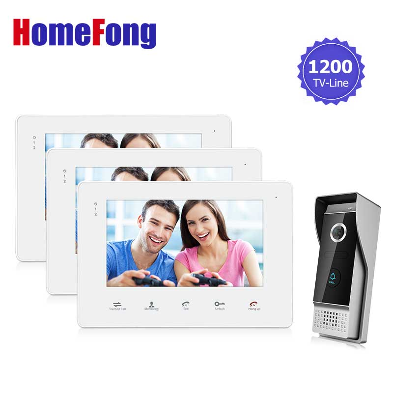 Homefong  Wired 7inch TFT LCD Video Door Phone Doorbell Intercom  Home Security IR Camera Monitor 1V3  Door Release for Lock 7 inch video doorbell tft lcd hd screen wired video doorphone for villa one monitor with one metal outdoor unit rfid card panel