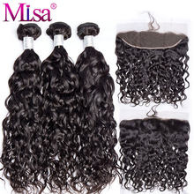 Mi Lisa Hair Brazilian Water Wave 3 Bundles With Lace Frontal Closure Remy 100% Human Hair Weave 13x 4 Lace Frontal With Bundle(China)