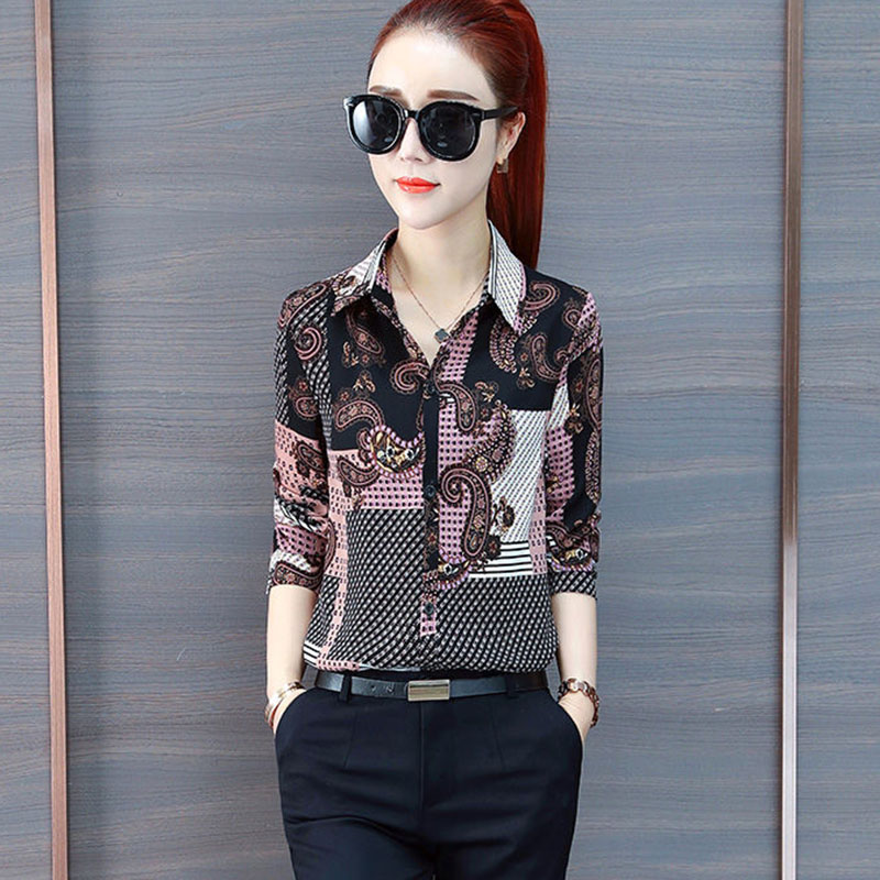 Women Spring Summer Style Blouses Shirts Lady Casual Long Sleeve Turn-down Collar Flower Printed Blusas Tops DF2726