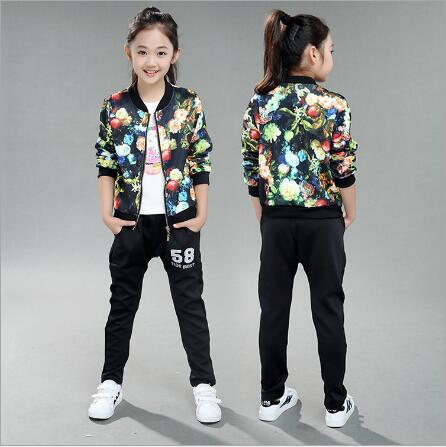 New girls clothing sets 2018 Spring and Autumn new children's long-sleeved sports suit print jacket + pants 4-10 years