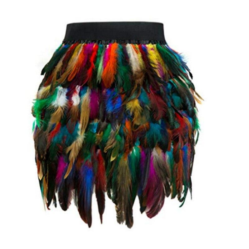 LZJ Tassel Fringe Feather Women Skirt Summer Style Beach Short Mini Skirt Female Sexy Party High Waist Bandage Skirt Bottom S-XL