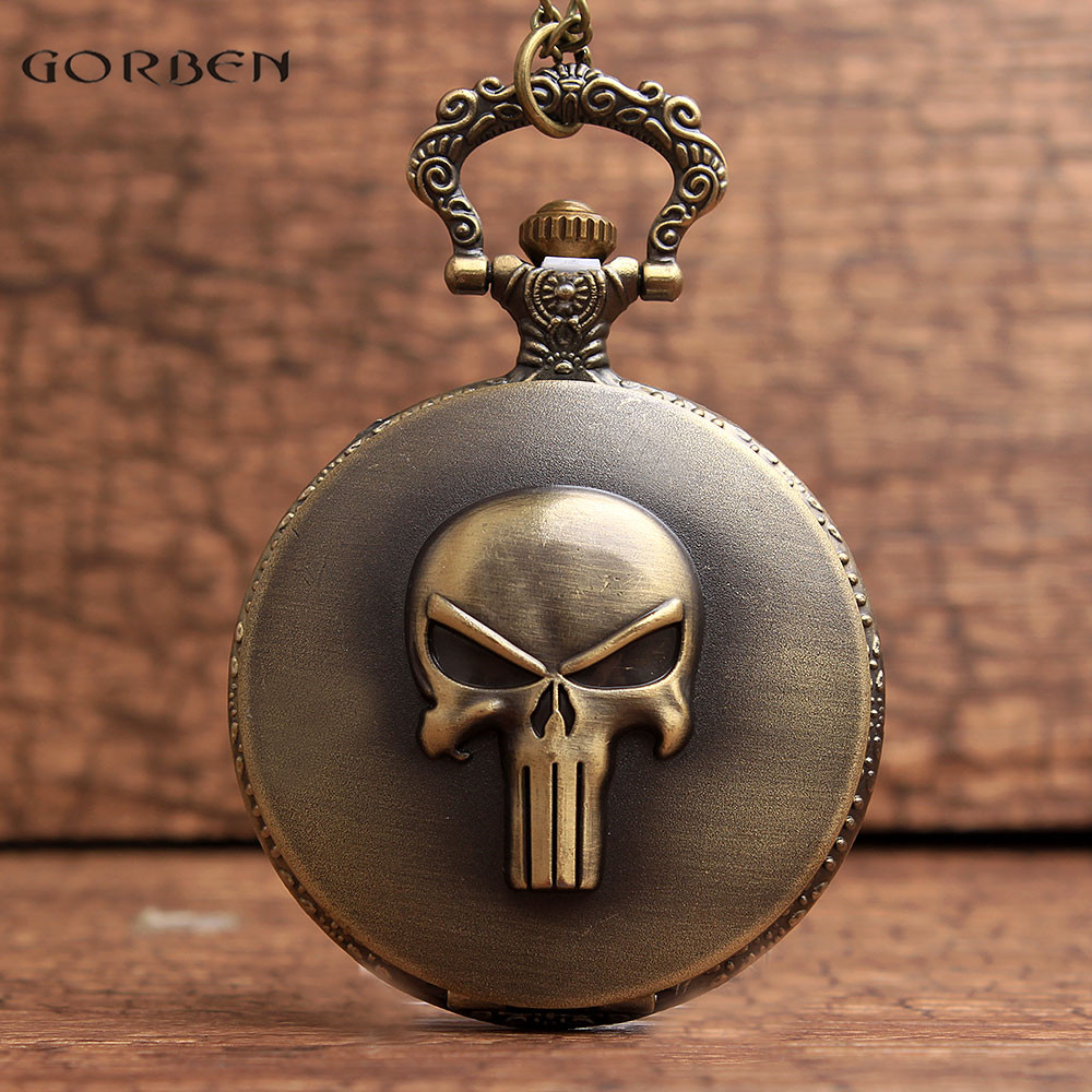 The ONE PIECE Comics Brook Design Pocket Watch With FOB Chain Skeleton Steampunk  Bronze Mens Women Quartz Vintage Pocket Watch