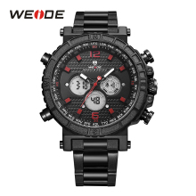 WEIDE Quartz Alarm Chronograph Back Light Date LCD Digital Analog Display Stainless Steel Band Black Red Mens Sport Wrist Watch