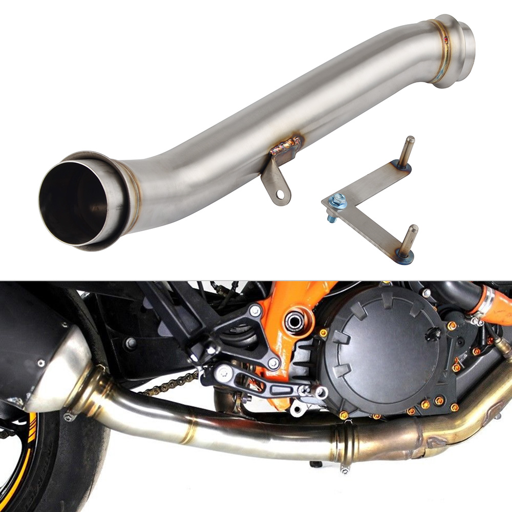 Motorcycle Stainless Steel Down Mid Pipe Decat Eliminator Race Exhaust For KTM 1290 Super Duke R
