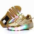 Nueva moda luminoso shoes patines para niños embroma las zapatillas de deporte con ruedas rueda jazzy júnior niñas brillante de luz led