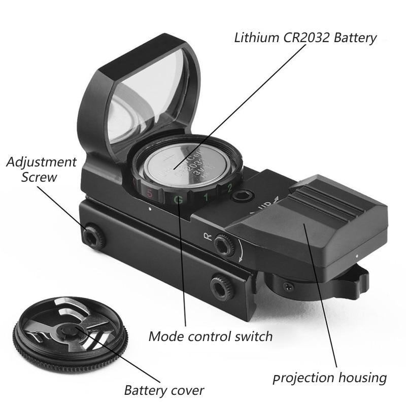 Red Dot Anblick Holographische Jagd Zielfernrohr Reflex 4 Absehen Tactical Optik Passt 20mm/20mm Weaver/Picatinny schiene Für Air Gun