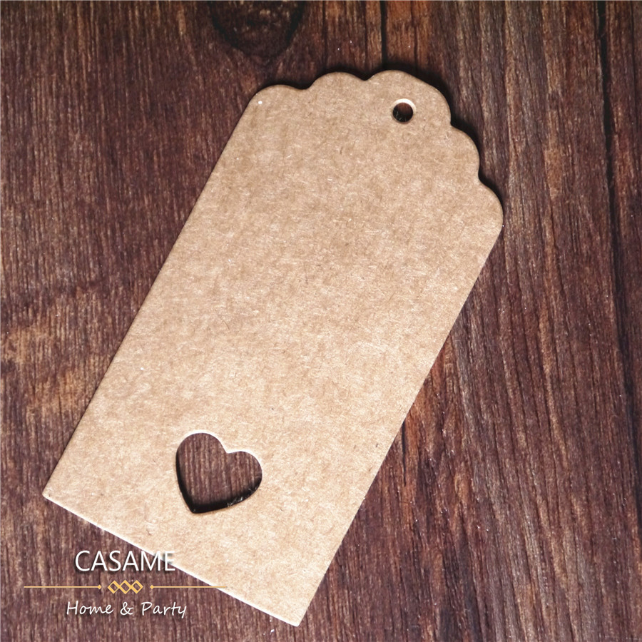 wholesale Brown Kraft Paper Tags Lace Scallop heart Label Luggage Wedding Note String DIY Blank price Hang tag Kraft Gift