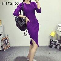 Skitzyou vestidosผู้หญิงเสื้อกันหนาวชุดสีม่วงบางส้อมเปิดB Odycon
