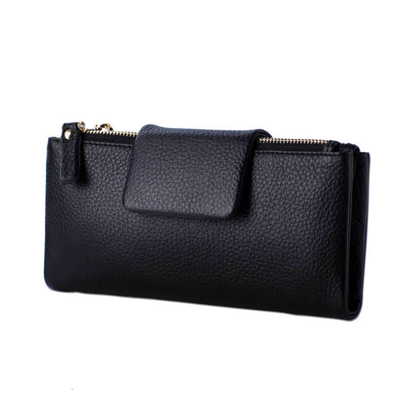 100% Cow Genuine Leather Women Wallet Fashion Brand Wallet Female Long Clutch Purse 2016 Solid Coin Pocket