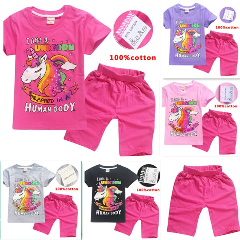 unicorn Costumes Girls Set Unicorn Unicorn Children's Casual Set Short Sleeve  cartoon children Strawberry Home pajamas