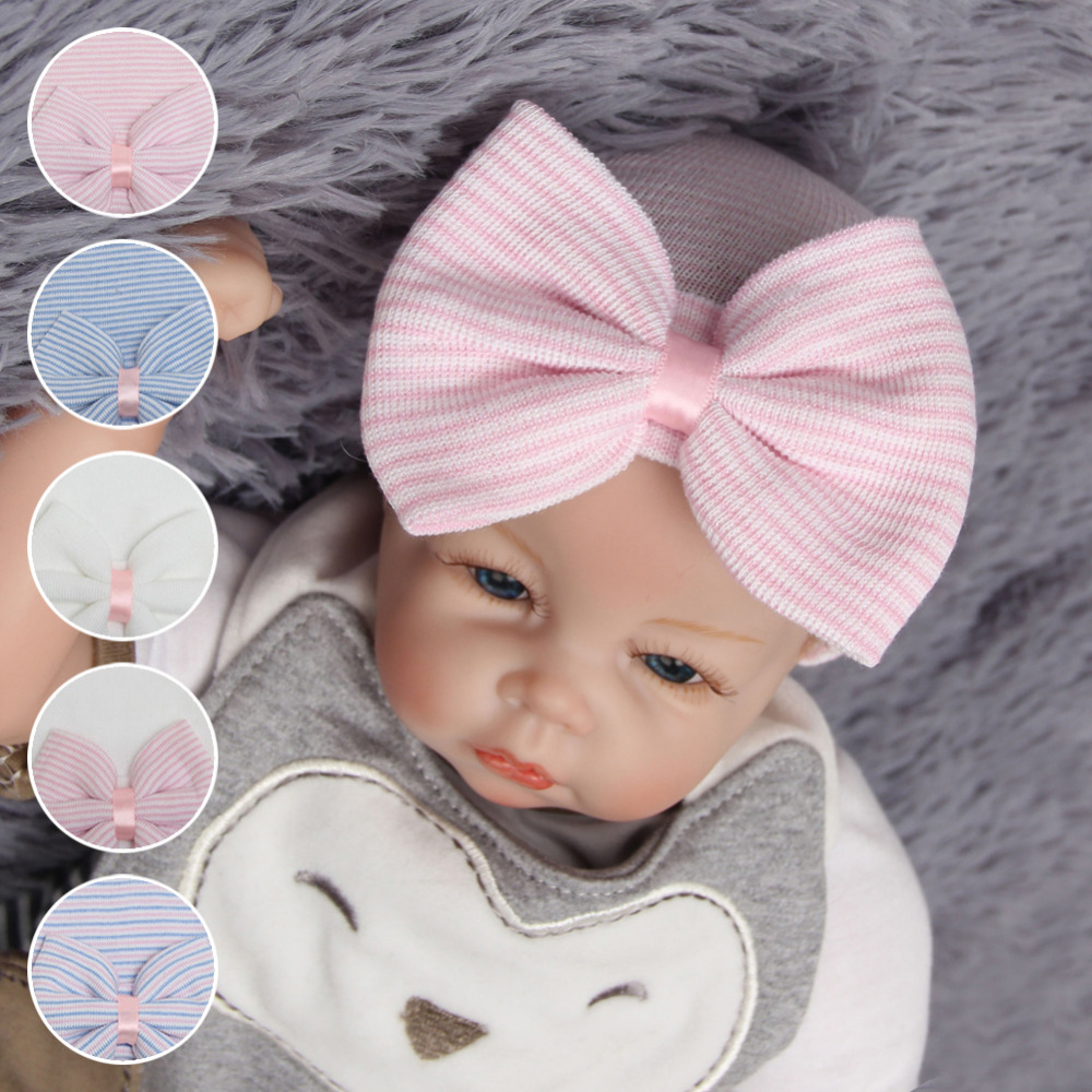 1pcs Newborn Baby Girl Hat Cotton Beanie With Bow Infant Soft Knitted Striped Bowtie Caps Baby Toddler Bowknot Hat AccessoryD25 newborn cap cotton beanie rhinestone bow hat soft knit striped cap baby supplies baby photo prop