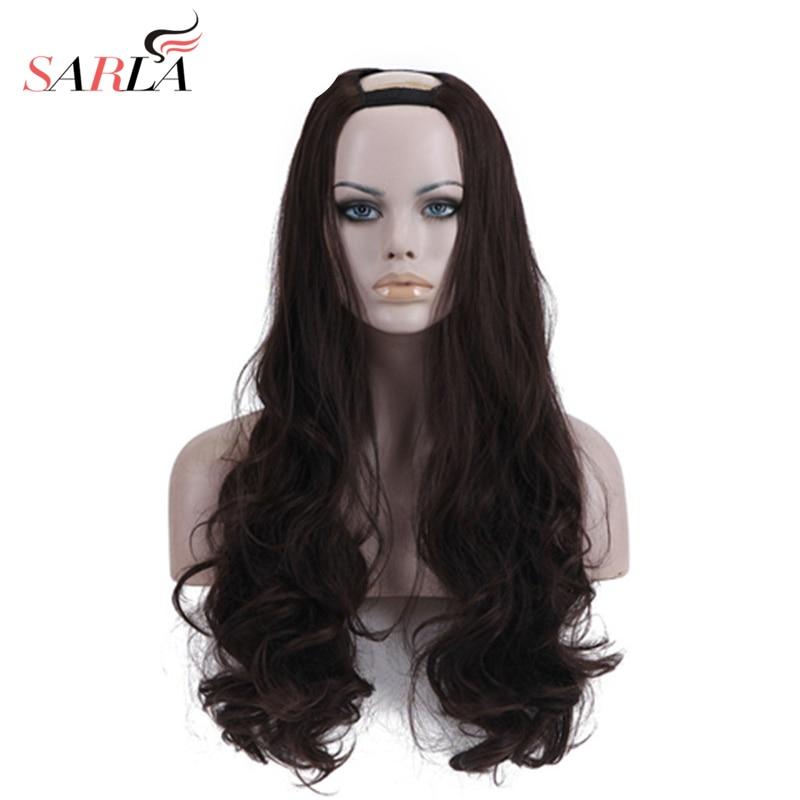 SARLA Xmas Long Wavy U Part Wigs 26 Resist High Temperature Synthetic Hairpieces Silk Hair Extensions