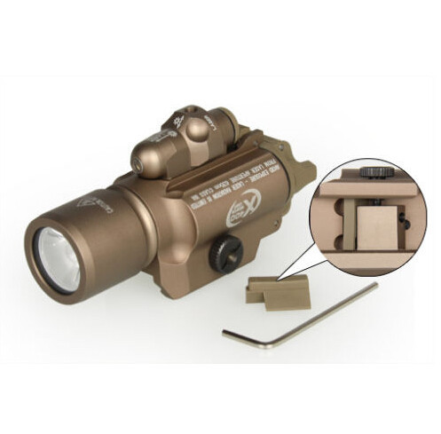 1pc BLK/TAN Outdoor Tactical Hunting Surefir X400 Handgun Flashlight With Red Laser Sight Free Shipping free shipping surefir led weapon x400 handgun flashlight with red laser sight for rifle scope pistola airsoft guns