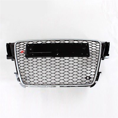 Silver Frame Honeycomb Mesh Front Grill Grille For Audi A5 S5 Sline 08-11 1pcs 3d metal s5 car front grille adhesive emblem badge stickers accessories styling for audi a5 s5
