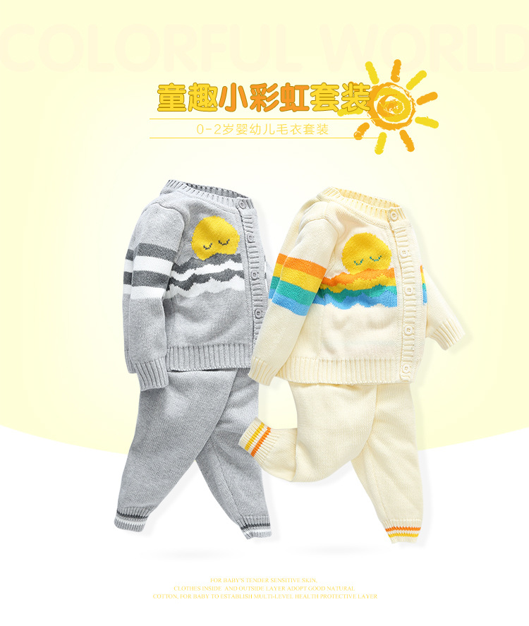 2016 Baby Girl Boy Knitted Autumn Sweater Kids Knitting Outwear Long Sleeve Baby Clothes Clothing 2Pieces(Tops+Pants)