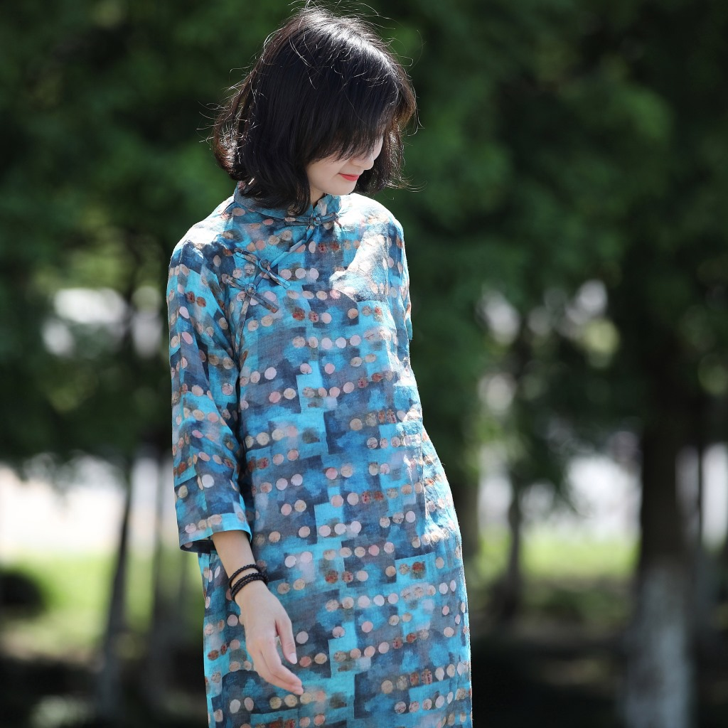 Women Ramie Print Qipao Dress Stand Collar Adjusted Cheongsam Dresses Ladies Vintage Ramie Dress Female Print