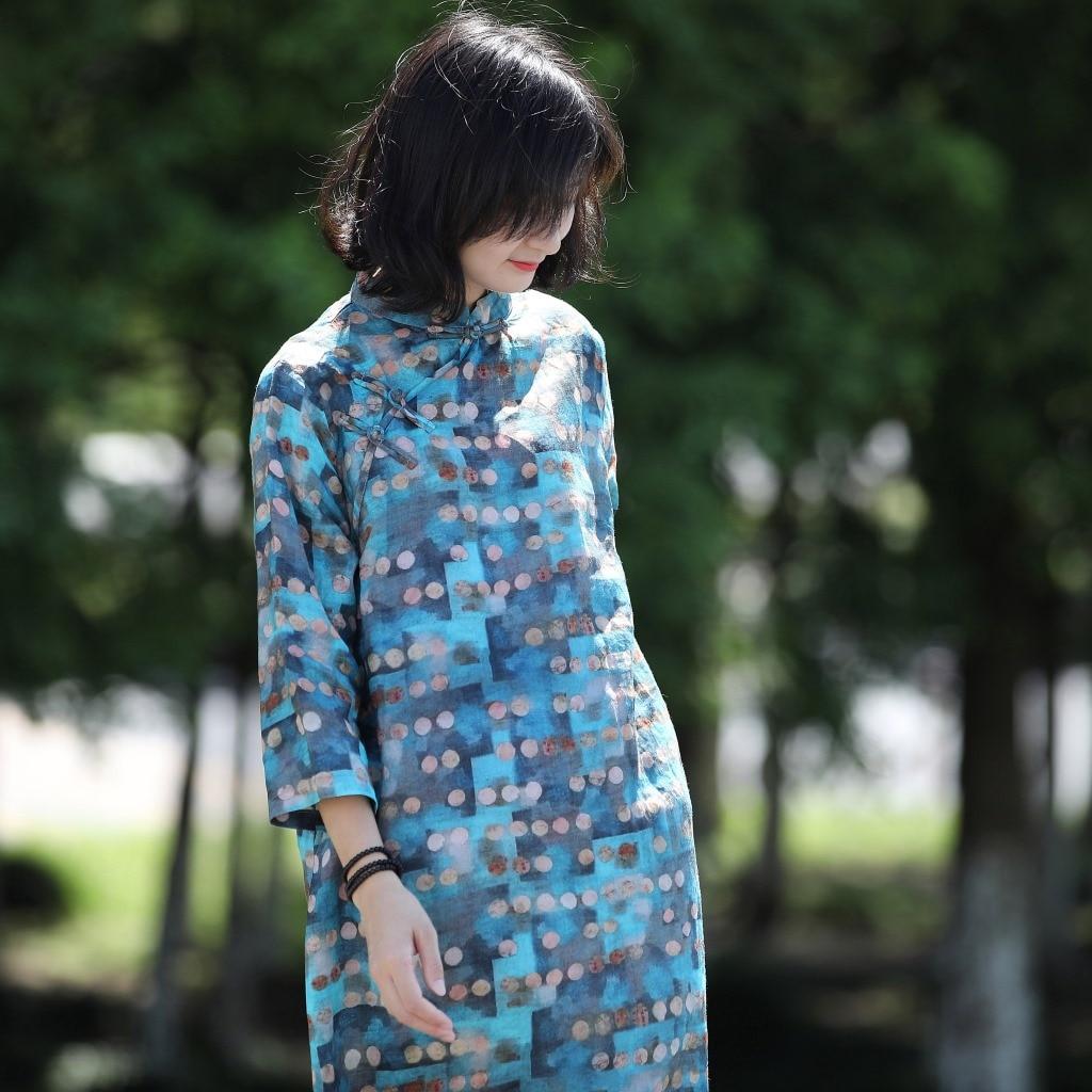 Women Ramie Print Qipao Dress  Stand Collar Adjusted Cheongsam Dresses Ladies Vintage Ramie Dress Female Print Dress 2018 Autumn-in Dresses from Women's Clothing    1