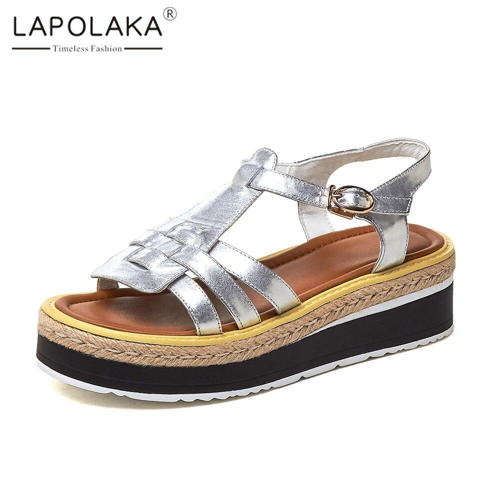 Lapolaka New Summer Sandals 2019 womens Genuine Leather Ladies Wedges Heels Platform Shoes Woman Casual Sandals FootwearLapolaka New Summer Sandals 2019 womens Genuine Leather Ladies Wedges Heels Platform Shoes Woman Casual Sandals Footwear