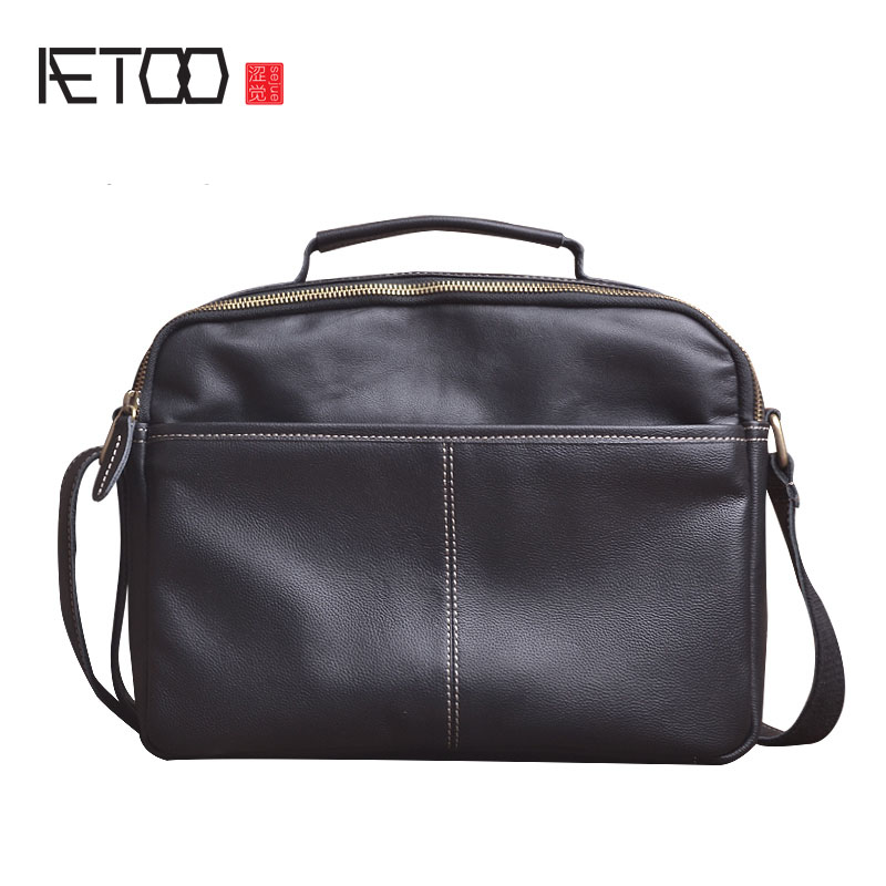 AETOO Original leather first layer of leather cross section shoulder Messenger bag portable file package soft leather leisure aetoo new first layer of leather men s shoulder bag leather male package cross section oblique cross bag japanese and korean ver