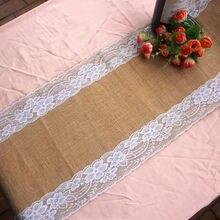 Natural Vintage yute Lino arpillera camino de mesa de tela país decoración evento boda fiesta decoración suministros #01-16