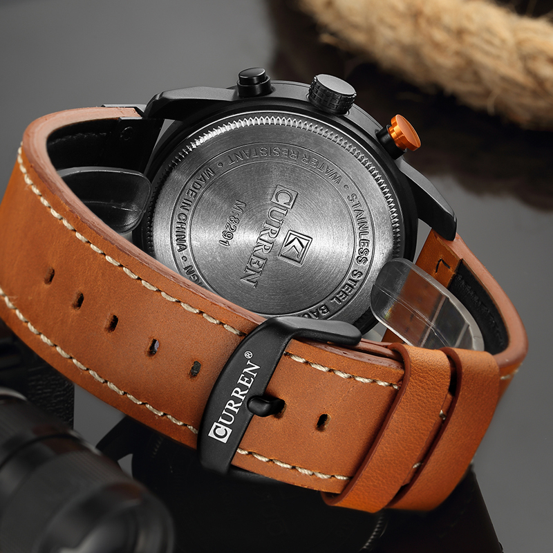 CURREN 8291 Luxury Brand Men Analog Digital Leather Sports Watches Men\`s Army Watch Man Quartz Clock Relogio Masculino drop shipping wholesale cheap (12)