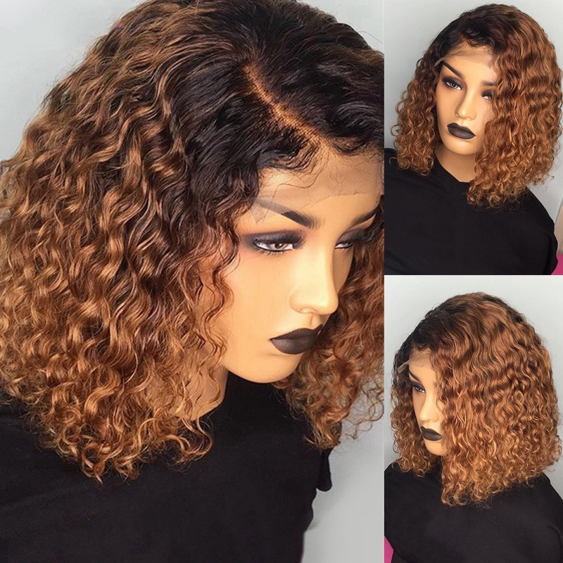 1B/27 Ombre Color Short Curly Lace Front Human Hair Wigs With Baby Hair Pre Plucked Remy Brazilian Lace Bob Wigs Bleached Knots 1