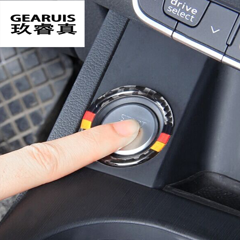 Car Styling Key Start Button Decorative Frame Cover Trim Carbon Fiber sticker For Audi A4 B9 A6 C7 Q7 A7 A8 Interior Accessories