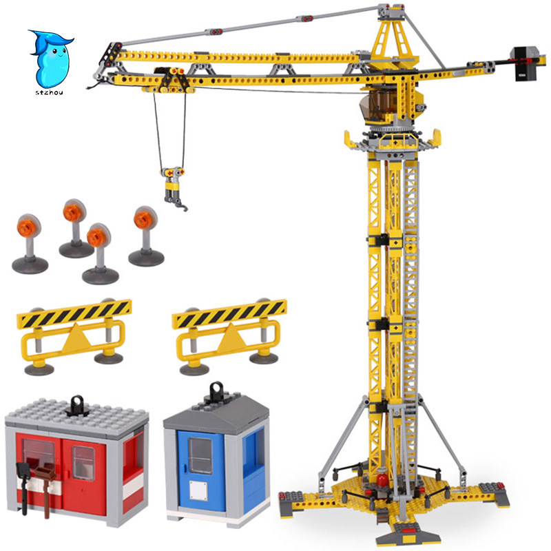 StZhou 778pcs Lepin City Series the Building Crane Set Building Blocks Bricks City Lifting Machine Children Toys Gift city Lepin lepin 02006 815pcs city series police sea prison island model building blocks bricks toys for children gift 60130
