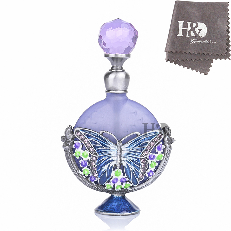 H&D 7ml Elegant Retro Frosted Butterfly Flower Perfume Bottle Refillable Empty Essential oil Bottle Home Decor Lady Wedding Gift sexy lady retro elegant golden refillable spray perfume bottle my bottle