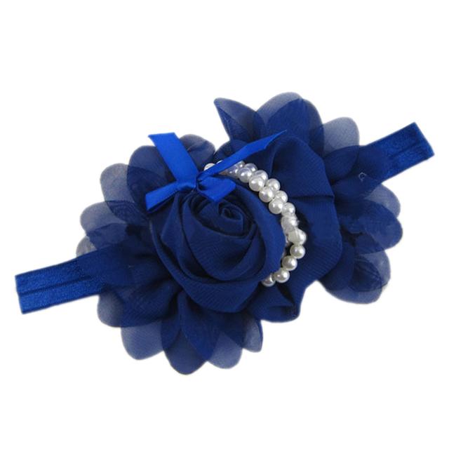 Nouveau Bébé Fille de Mousseline de Soie Perle Bandeau Rose Fleur Hairband Photographie Bande Royal bleu