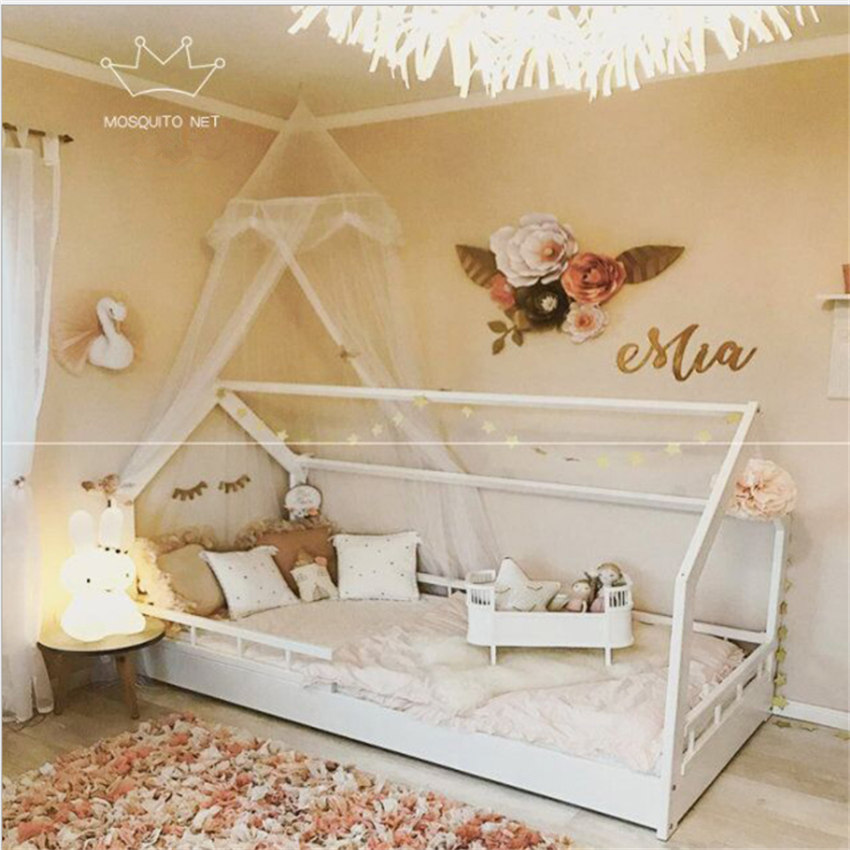 Ins Kids House Tents Splicing Gauze Lace Nets Baby Hanging Tent Bed Nets Play House Mosquito Net Bed Valance Mesh nets