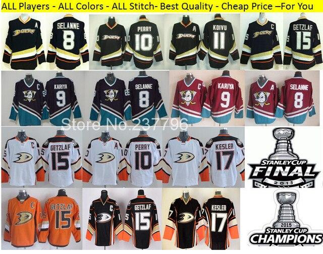 dcbcfa9d8 Anaheim Ducks Ice Hockey Jerseys 17 Ryan Kesler 15 Ryan Getzlaf Jersey 9  Paul Kariya 10 Corey Perry 2015 Stanley Cup Finals Mens