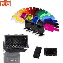 20 цветов фотографический фильтр цветных гелей карта+ Сотовый сетчатый фильтр для Canon Nikon Pentax YONGNUO GODOX вспышка